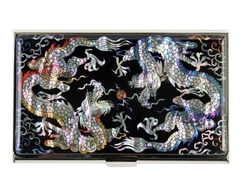 Mother of Pearl Business Credit Name Card Holder ID Money Case with Double Dragon Design