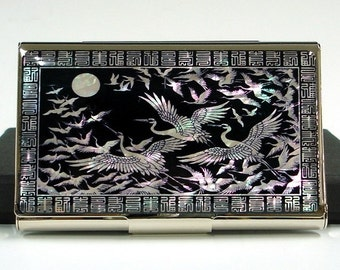 Mother of Pearl Business Credit Name Card Holder ID Money Case Wallet with Flying Cranes Design