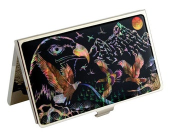 Mother of Pearl American Eagle Design Black Metal Business Credit Name Card Holder ID Money Wallet Case
