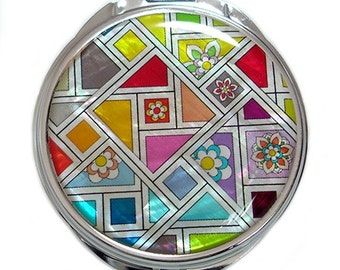 Mother of Pearl Magnifying Makeup Cosmetic Handbag Purse Pocket Double Compact Mirror with Patchwork Design