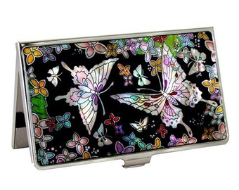 Mother of Pearl Business Credit Name Card Holder ID Money Case with Butterfly Design
