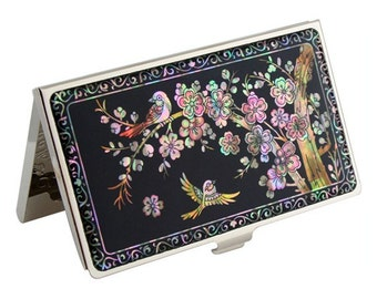 Mother of Pearl Bird and Pink Flower Design Black Metal Business Credit Name Card Holder ID Money Wallet Case