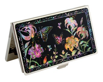 Mother of Pearl Engraved Business Credit Card Holder with Trumpet Lily Flower Design