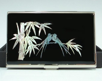 Mother of Pearl Business Credit Name Card Holder Case with Birds and Bamboo Design