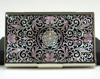 Mother of Pearl Business Credit Name Card Holder ID Money Case Wallet with Arabesque Design