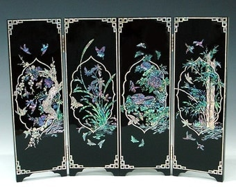 Mother of Pearl Wooden Mini Folding Screen Wall Art Plaque Decor with Four Noble Beings Design