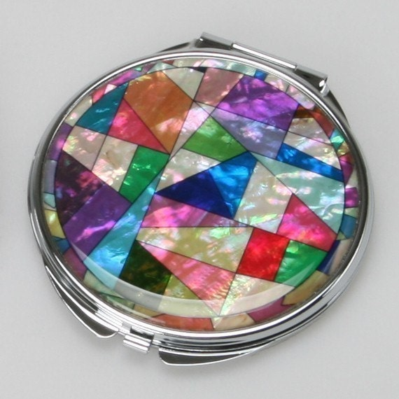 Mother of Pearl Colorful Make up Cosmetic Handbag Purse Pocket Compact Mirror with Patchwork Design