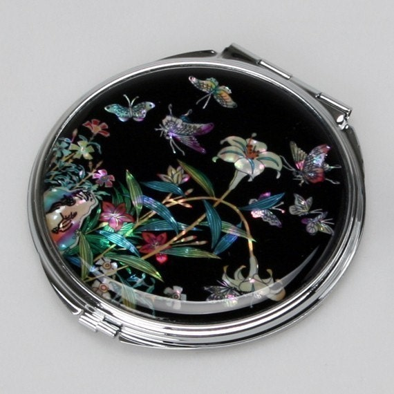 Mother of Pearl Black Makeup Cosmetic Handbag Purse Pocket Compact Mirror with Lily Design