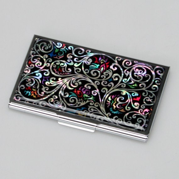 Mother of Pearl Black Arabesque Design Metal Business Credit Card Case Holder Money Cash Wallet