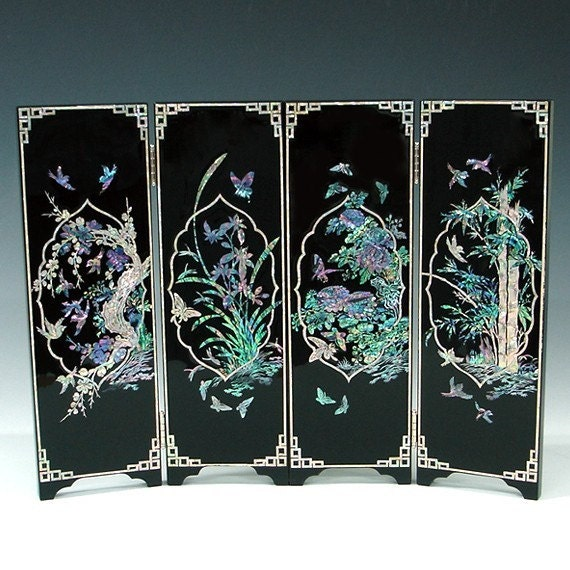 Items similar to mother of pearl wooden mini folding screen wall art plaque decor with four - Wall decoration with pearls ...