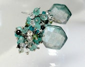 Blue Gemstone Cluster Earrings Teal Blue Quartz Apatite and Tourmaline Cluster Earrings Sterling Silver