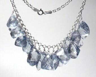 Blue Cluster Necklace Blue Bib Necklace Tanzanite Blue Quartz Necklace