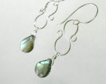 Labradorite Earrings, Gemstone Drop Earrings, Labradorite Briolette Earring, Sterling Silver