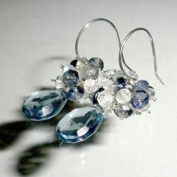 Cluster Earrings Tanzanite Blue Quartz, Iolite, Moonstone Earrings Blue Gemstone Earrings