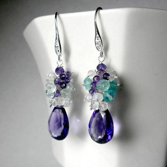 Purple Amethyst Earring SALE Gemstone Cluster Earrings