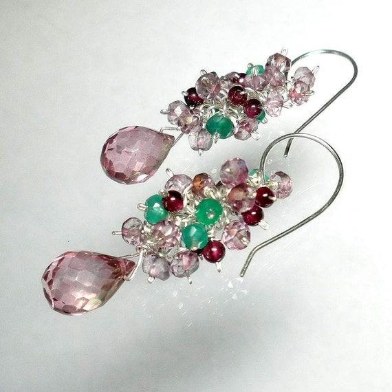 Multicolor Earrings, Multicolor Cluster Earring, Multicolor Gemstone Earrings, Multi color, SALE