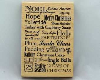 Christmas Sentiments Rubber Stamp Wood Mounted