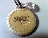 Handpainted Dog ID Tag Round Lemon Iced Sugar Cookie with bell or charm custom wording