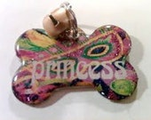 Handpainted  Dog Cat Pet ID tag Mardi Gras