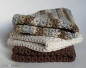 Simple Crocheted Cotton Yarn Dishcloths\/ Washcloths\/ Towels