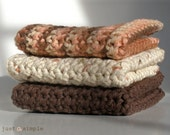 Simple Crocheted Cotton Yarn Dishcloths\/Washcloths\/Towels