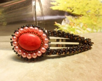 LIGHT RED CORAL -- Gemstone and Glass Pearl Beaded Snap Hair Clip