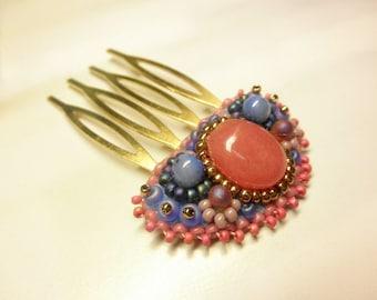 Dyed Rose Jasper Beads Pastel Gemstones Tiny Antique Bronze HAIR COMB