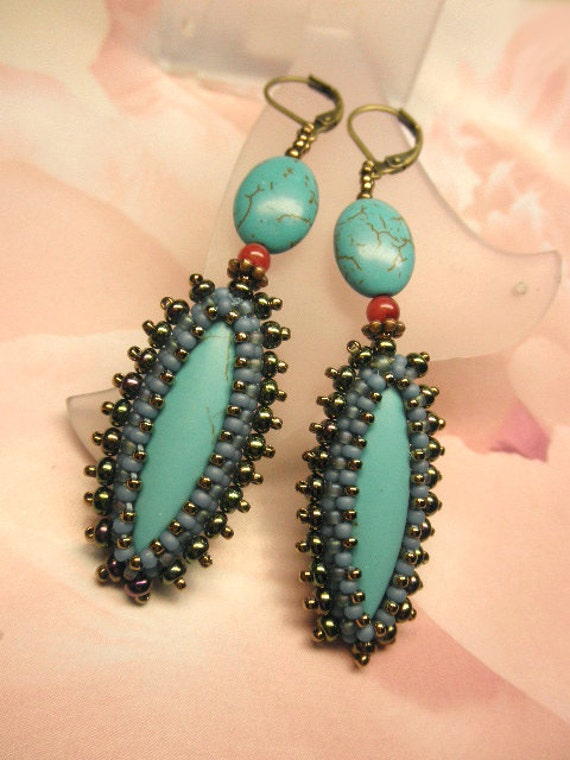 Turquoise Blue and Seed Beads Dangle Antique Bronze Hoop Earrings with Lever Back