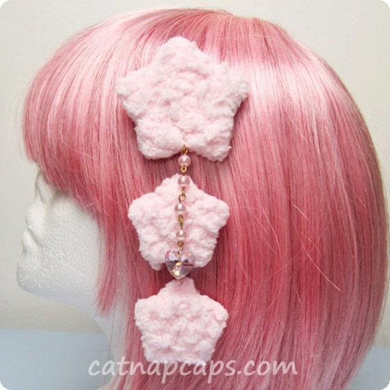 Pink Fluffy Triple Star Clip with Sparkling Heart Gem Fairy Kei Sweet Lolita