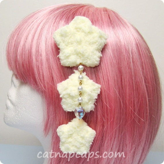 Yellow Fluffy Triple Star Clip with Sparkling Heart Gem Sweet Lolita Fairy Kei