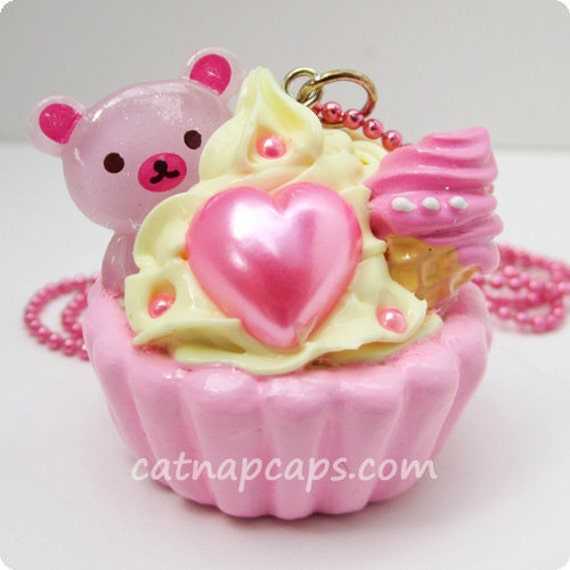 SALE Strawberry Lemonade Bear Loves Ice Cream Pink x Yellow Sweets Jewelry Cupcake Necklace