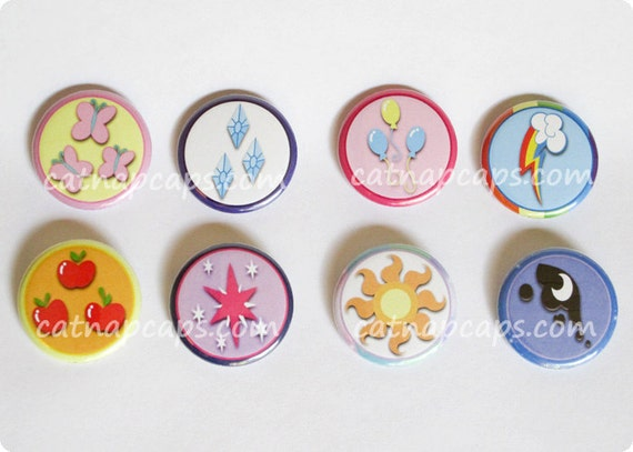 My Little Pony Friendship is Magic 1.5 Inch Cutie Mark Buttons MLP FIM Set of 8