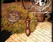 goddess pendant, Gorgeous dark natural carved wood spiral goddess Pendant
