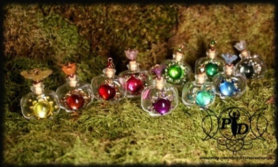 Poison bottle / Perfume Bottle / Glass Vial / Flower Pendant, Cute and Colourful