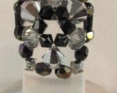 Cocktail Ring Silver and Black Swarovski Crystal