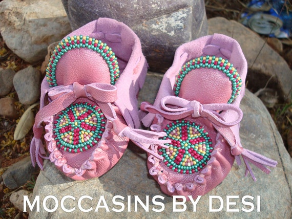 Baby Moccasins By Desi, Beaded, Soft Pink leather, lots of beadwork