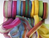 A Hanah Hand Dyed Silk Ribbon Collection,Hand Dyed Silk Ribbon, bias-cut 5/8 wide
