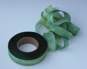 Hand dyed silk bias-cut ribbon GA