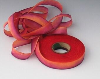 Hand Dyed Silk Ribbon, Silk Ribbon, Red Silk Ribbons, Ribbon