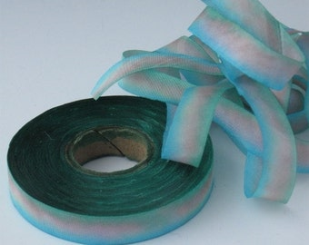 Hand dyed silk ribbon bias-cut
