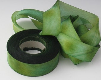 Hand Dyed Silk Ribbon, 1 Inch Ribbon, Green Silk Ribbon, Ribbon