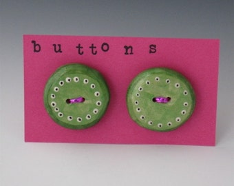 Green Buttons, Ceramic Button, Green Buttons, Childrens Buttons, Ceramic Green Buttons