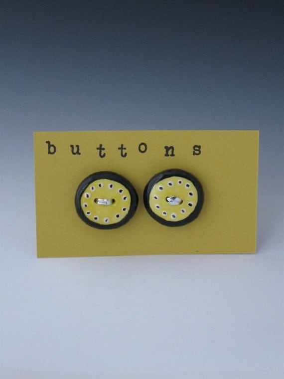 Buttons, Ceramic Buttons, Childtens buttons, Yellow Ceramic Buttons