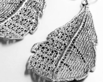 Vintage Lace Sterling Silver Leaf Drop Earring