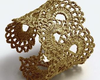 Gold Vermeil Vintage Scalloped Lace Cuff Bracelet