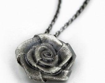 Silver Satin Rose Flower Pendant