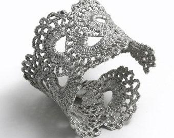 Vintage Scalloped Lace Silver Cuff Bracelet