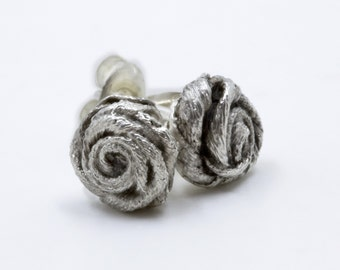 Tiny Satin Ribbon Rose Post Earrings - Sterling Silver