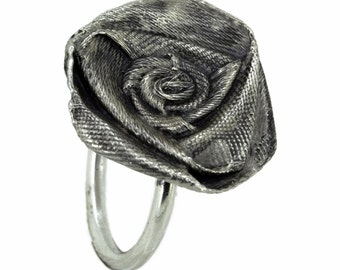 Silver Satin Ribbon Rose Flower Ring