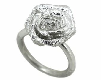 Petite Satin Ribbon Rose Flower Ring